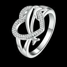 Fashion 925Sterling Solid Silver Jewelry Crystal dolphin Rings For Women R708