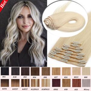 Muti Colors 100% Remy Human Hair Extensions Black Brown Blonde Clip In 8 PCS AU