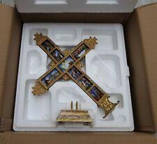 "Vintage DANBURY MINT 3D Crucifix 'The Life of Christ' Freestanding Tabletop 14"""