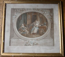 GRAVURE-FÉLICITÉ VILLAGEOISE -J-L DELIGNON - FRAMED COLORED ENGRAVING 18C.