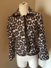 ETCETERA Textured Floral Velvet Trim Floral  Large Clear Buttons Jacket 2 S 4