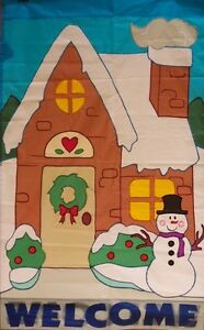 Winter Cabin Welcome Standard House Flag by NCE #90321