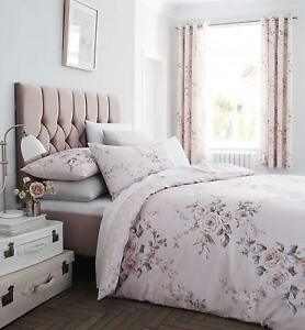Catherine Lansfield Canterbury Blush Pink Sparkly Glitter Floral Duvet Cover Set