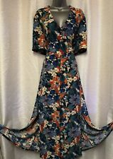 MONSOON Multi Floral Print Stretch Maxi Dress Plus Size UK 22