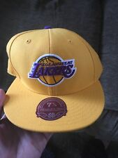 NBA Mitchell & Ness Los Angeles Lakers Yellow Purple Fitted Hat Cap 7 7/8 Men's