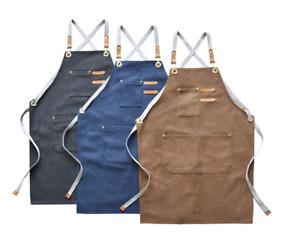 Canvas Tool Work Shop Apron Heavy Duty Woodworking Chef Workshop W/Pockets