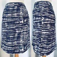 M&S Navy Blue White Striped Cotton Straight Skirt Knee Length Pockets Size 16