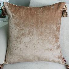 2 x Luxury Chenille European Cushion Cover Pillow Case Tassel 60 x 60cm-Tan