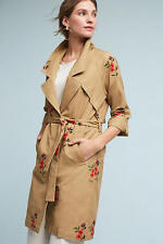 NWT Anthropologie Embroidered Floral Trench Coat Utility Jacket by Cartonnier L