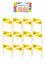 24 Smiley Face Food Sticks - Yellow Emoji Tableware Cupcake Party Childrens