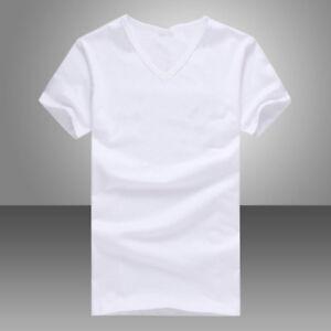 Summer Men V Neck Slim T-Shirt Tops Cotton Short Sleeve Black White Shirt