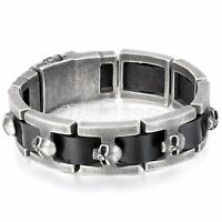Men's Retro Punk Rock Biker Leather Strap Stainless Steel Bracelet Chain Bangle