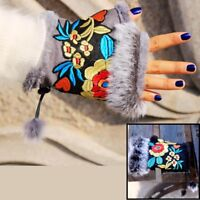 Women Winter Gloves Floral Vintage Embroidery Style Quality Ethnic Wrist Mittens