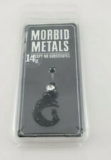 Morbid Metals 14g CRV SS Black Filigree Moon with Cat