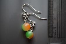 handmade Beads Earrings jewellery silver plated two-tone coloured glass beads