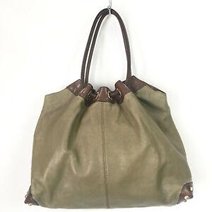 Michael Kors Shoulder Bag Ring Tote Olive Green and Brown Leather Large Hobo