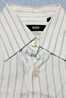 Hugo BOSS Dress Shirt 15.5 39 White Blue Striped Long Sleeve 100% Cotton