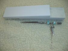 Teal Green Beaded Letter Opener - One Of A Kind! Peace Heart & Feather Charms