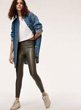 "Wilfred Free S 26/27 32""In Daria Vegan Faux Leather Legging Dark Olive High Rise"