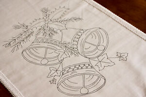 Printed to hand Embroider cotton Christmas Table Runner Bells & Ivy CSO120