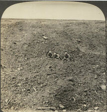 WW I STEREOVIEW SOLDIERS IN SHELL CRATER.