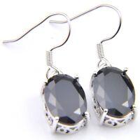 Hot Sale Luxury Shiny Oval Black Onyx Platinum Plated Gems Dangle Earrings