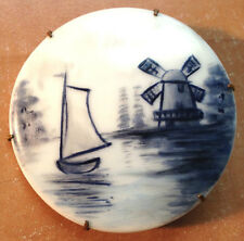 Early 1900's Delft Hp Porcelain Windmill & Sailboat Mounted On Brass Pin