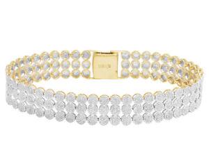 "Mens 10K Yellow Gold 3 Row Flower Cluster Statement Diamond Bracelet 8"" 3 CT"