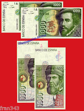 1000 Pesetas 1992 HERNAN CORTES Serie 9B SC /SPAIN Pair Pick 163 Replacement UNC