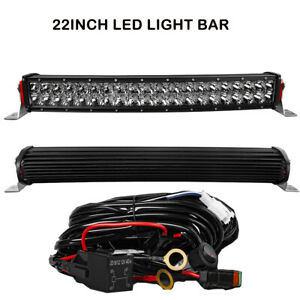 Curved 23inch LED LIGHT BAR 1200W Double Row Combo Driving Truck + Wire