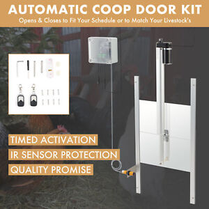 Automatic Timer Chicken Coop Door Opener with Remote Controls and IR Sensor 66W