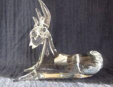 Vintage Enesco Lead Crystal Art Glass Reindeer NICE