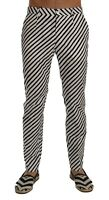 NEW $780 DOLCE & GABBANA Pants White Black Striped Cotton Slim Fit s. IT46 / W32