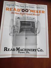 1926 Read Machinery Co OO High Speed Bakery Dough Mixer Catalog Brochure Vintage