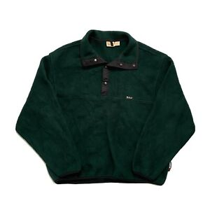 Vintage 90's Woolrich USA Polartec 1/4 Snap Pullover Fleece Forest Green - Large