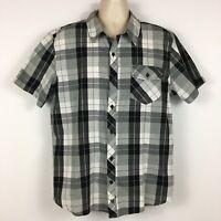 Hart & Huntington Mens Shirt XL Black & Gray Plaid Short Sleeve Casual Button