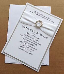 Silver And White Wedding Invitation Set