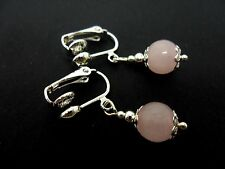 A PAIR OF SHORT PINK JADE BEAD  DROP CLIP ON EARRINGS. NEW. 8MM.