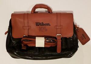 Mens NFL Wilson Football Leather Messenger Bag Laptop Briefcase Coach