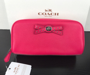 COACH Bow Cosmetic Makeup Pouch Case In Pink Ruby Fuchsia Pebbled Leather