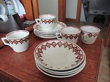 Vintage Staffordshire England Pottery Demi Cups/plates & bowls, Red/Brown print