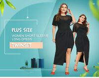 Plus Size Women Round Neck Short Sleeve Long Black Dress Twinset Tunic Size 2XL