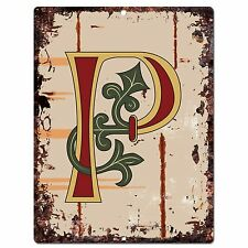 PP0524 Alphabet Medieval Initial Letter P Chic Sign Bar Shop Store Home Decor