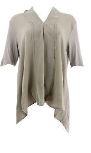 Halston Short Slv Knit Woven Top Chiffon Drape Front Urban Grey M # A278663