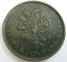 (1837) BAS (Lower) CANADA Agriculture & Commerce TOKEN MONTREAL Un Sou Nice VF+
