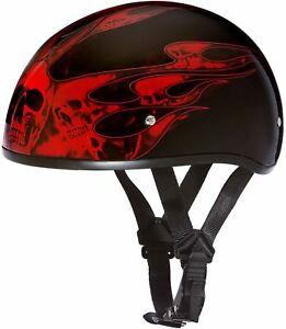 Daytona Skull Cap Helmet Slim Line Ratchet Quick Release Graphics DOT 2XS-2XL
