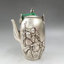 OLD CHINA TIBETAN SILVER PURE HAND-CARVED ANCIENT OLD MAN IMAGE TEAPOT