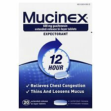 5 Pack - Mucinex 12-Hour Chest Congestion Expectorant Tablets, 20 Each