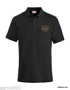 Black Polo Pique embroidered with the Freemason Masonic Square & Compass design