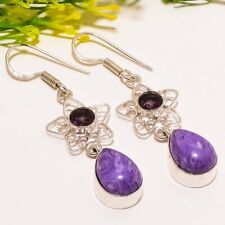 "Charoite, Amethyst Gemstone Handmade Fashion Jewelry Earring 2.2"" SE5808"